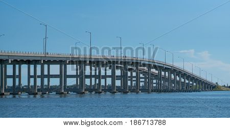 The Melbourne Causeway Bridge connects the mainland to the barrier island and the beaches on Florida's east coast.