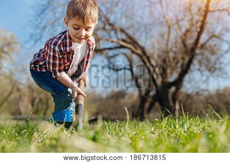 Young gardener. A charming boy wearing plaid shirt digging a hole in the ground to plant a tree in backyard