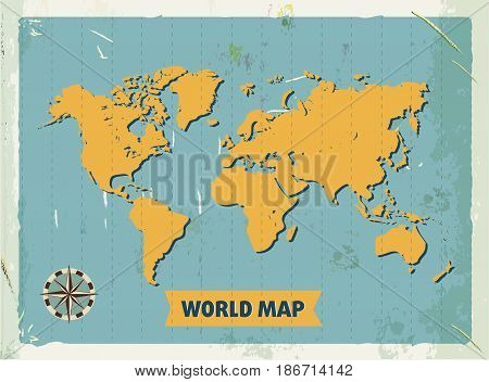 Grunge retro metal sign with world map. Vintage poster. Old fashioned design