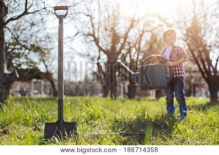Maintaining a family garden. Selective focus on a spade digging the soil and a little boy pouring fresh grass on the background