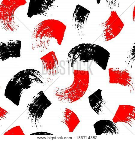 Vector seamless pattern with brush stripes and strokes. Black red color on white background. Hand painted grange texture. Ink geometric elements. Fashion modern style. Endless fabric print. Retro