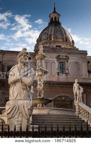 Palermo, Italy - October 13, 2009: Marble Statue Of Piazza Pretoria, Sicily