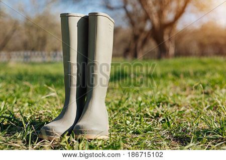 Spring concept. Wellington boots for a garden work outdoors standing in a country house yard in spring