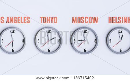 many clocks on the white wall 3d illustration with different time zones