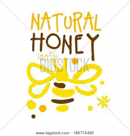 Natural honey logo, colorful hand drawn vector illustration for honey and apiary products