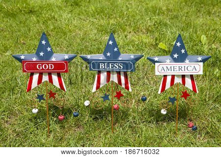 Patriotic star lawn ornaments for the Fourth of July holiday