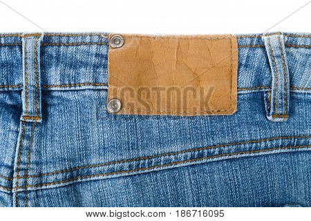 Jeans denim label blank label clothing isolated closeup