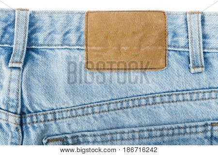 Jeans denim jeans label blank label clothing isolated closeup