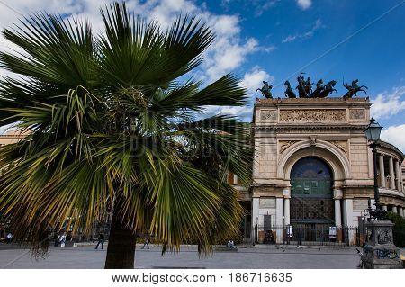 Palermo, Italy - October 14, 2009: The Politeama Garibaldi Theater