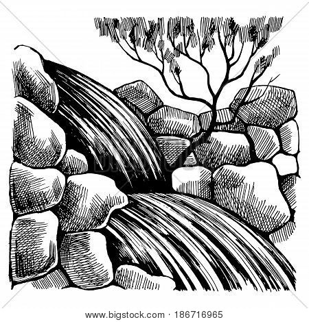 Black and White sketch drawing by hand. Waterfall mountain rocks and a tree with foliage in the background.