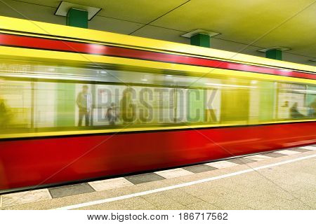 Train coming to the subway station in Berlin - Germany