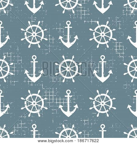 Vector Seamless Pattern Steering Wheel, Life Preserver, Anchor, Creative Geometric Vintage Backgroun