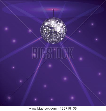Purple background of disco. A glittering pattern with a disco ball. Vector illustration.