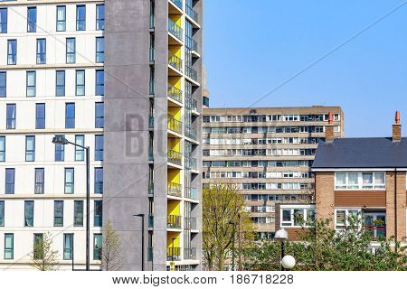 Modern Flats And Old Council Housing Blocks
