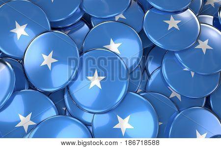 Somalia Badges Background - Pile Of Somali Flag Buttons.