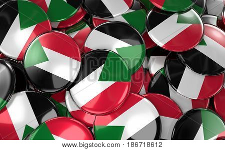 Sudan Badges Background - Pile Of Sudanese Flag Buttons.