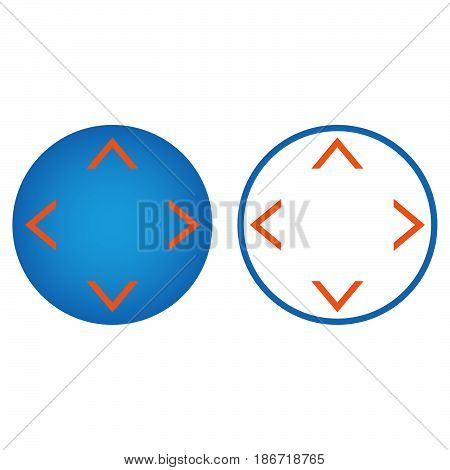 Button With Arrows In Four Directions Line Icon, Outline And Solid Vector Sign, Linear And Full Pict