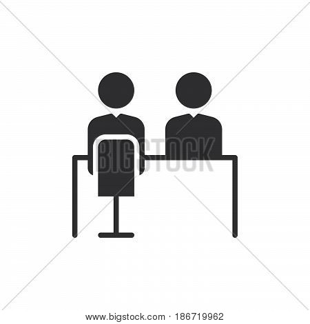 Job interview icon vector filled flat sign solid pictogram isolated on white. Symbol logo illustration. Pixel perfect