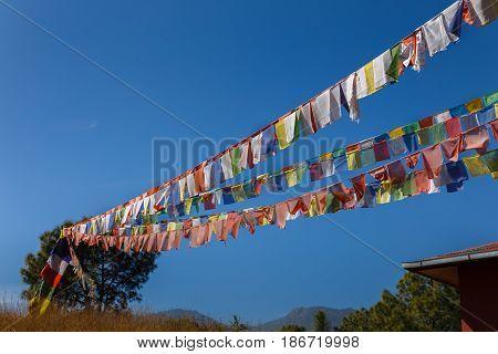 Tibetan prayer flags against the blue sky, Nepal