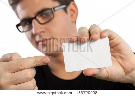 Add text man pointing white holding showing