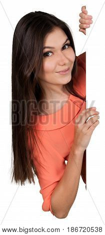 Woman young woman young adult peering peeking female girl