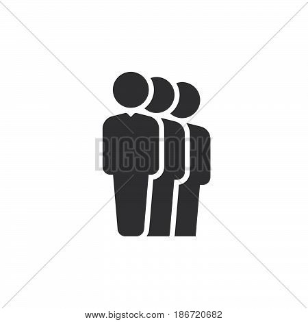 People queue icon vector filled flat sign solid pictogram isolated on white. Symbol logo illustration. Pixel perfect