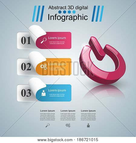 Switch icon. On, off icon. 3d infographic design template and marketing icons.