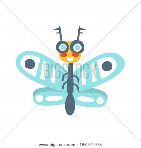 Funny cartoon flying fly insect, colorful character vector Illustration isolated on a white background