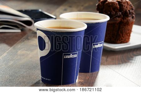 POZNAN POLAND - APRIL 28 2016: Lavazza is an Italian manufacturer of coffee products It was founded in Turin in 1895 by Luigi Lavazza.