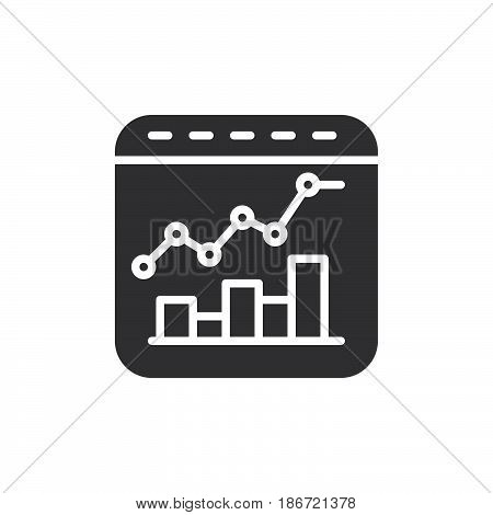 Bar and line combo chart icon vector filled flat sign solid pictogram isolated on white. Symbol logo illustration. Pixel perfect