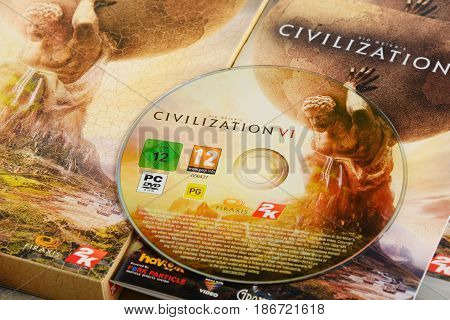 POZNAN POLAND - MAR 8 2017: Sid Meier's Civilization VI is a computer strategy game developed by Firaxis Games and released on October 2016