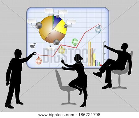 Managers solve work problems using interactive light board with infographic. Silhouettes of two men and woman with circular diagrams and graphs