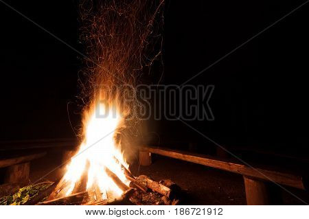 Campfire With Flying Sparks