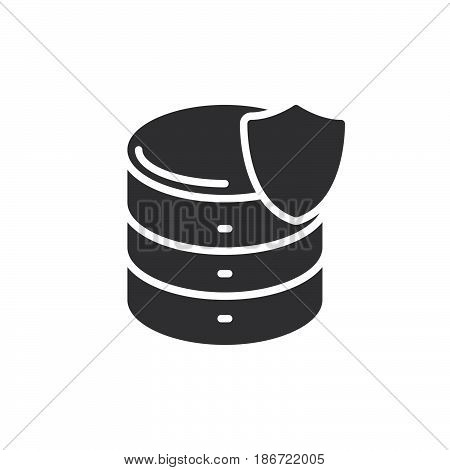 Database with shield icon vector filled flat sign solid pictogram isolated on white. Server protection symbol logo illustration. Pixel perfect