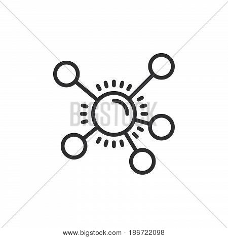 Mind map line icon outline vector sign linear style pictogram isolated on white. Symbol logo illustration. Editable stroke. Pixel perfect