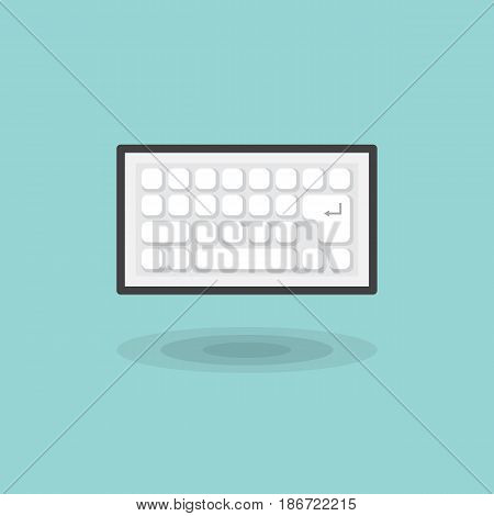 Vector icon computer keyboard white color on blue background. Illustration flat white keyboard isolated