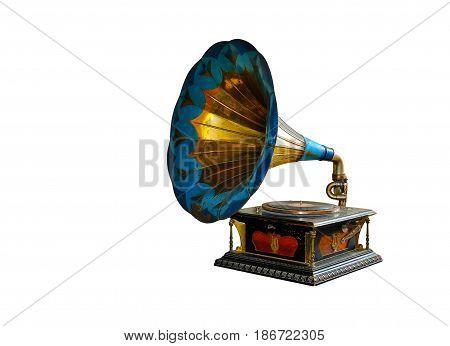 Vintage gramophone isolated on white audio  retro