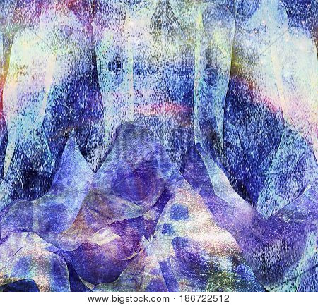 Abstract panoramic arctic landscape with mountains and aurora. Ice cave with bright stalactites. 3d illustration