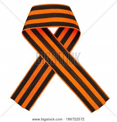 Bow of St. George's ribbon isolated on white