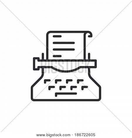 Typewriter line icon outline vector sign linear style pictogram isolated on white. Copywriting symbol logo illustration. Editable stroke. Pixel perfect