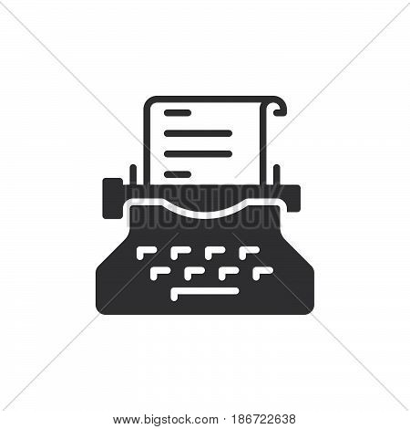 Typewriter icon vector filled flat sign solid pictogram isolated on white. Copywriting symbol logo illustration. Pixel perfect