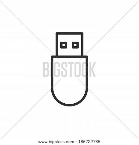 Usb stick line icon outline vector sign linear style pictogram isolated on white. Symbol logo illustration. Editable stroke. Pixel perfect