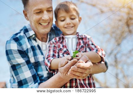 Like father like son. Happy male family members gazing at a handful of earth with a sprouting plant in it and enjoying free time spent outdoors together