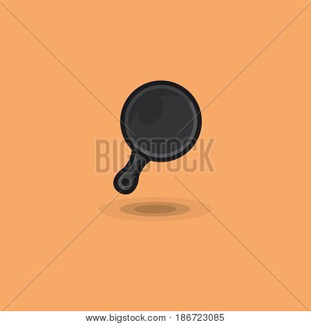 Vector icon frying pan for cooking at home and camping. Illustration of kitchen utensils frying pan, equipment for cooking
