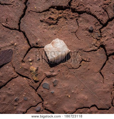 Fissured soil in the area of discharge of industrial waters and a stone of white quartz