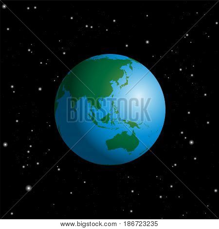 Globe with Australia, Asia, India, Russia, China, Japan, Indonesia, Indian Ocean and Pacific - planet earth in cosmic space on starry night black background.
