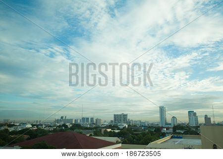 View of dawn in Bangkok From the windows of the hospital beautiful city scape urban scene of bangkok capital of thailand in morning light glow