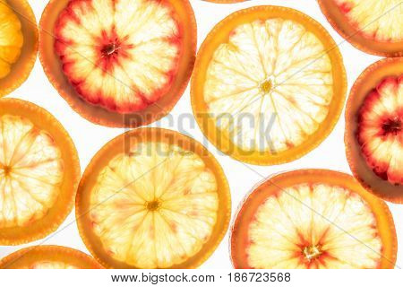 Bright Red Orange Slices On White