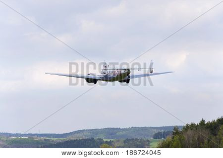 Plasy, Czech Republic - April 30: Lockheed Electra 10A Vintage Airplane Flying On April 30, 2017 In