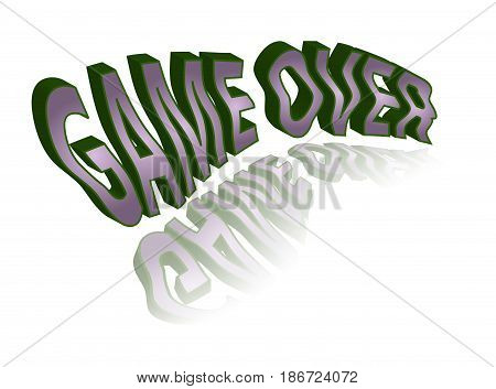 Crumpled 3D text with reflection - game over